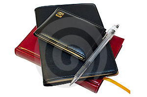 Three Notebooks (organizers) And Jell Pen. Stock Images - Image: 8325324