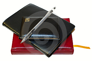 Three Notebooks (organizers) And Jell Pen. Royalty Free Stock Photos - Image: 8325348