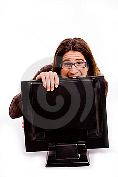 Side Pose Of Man Playing Videogame Royalty Free Stock Photos - Image: 8326408