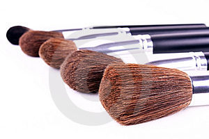 Five Brushes For Makeup Royalty Free Stock Images - Image: 8326939