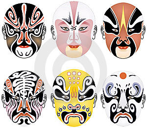 Beijing Opera Types Of Facial Makeup In Operas Stock Photos - Image: 8336433
