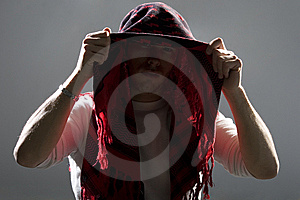 Backlit Man Hiding Face With Scarf Royalty Free Stock Photos - Image: 8337408