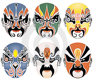 Types Of Facial Make-up In Beijing Opera Set Three Royalty Free Stock Photography - Image: 8337807