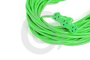 Green Plug Isolated On White In The Studio Royalty Free Stock Image - Image: 8337896