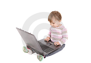 Happy Baby With Laptop Stock Images - Image: 8339514