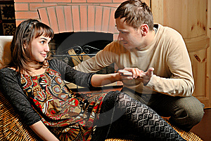 Young Couple Near Fireplace Stock Image - Image: 8339851