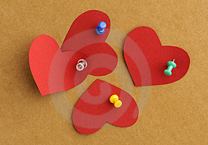 Paper's Hearts With  Thumbtacks Stock Images - Image: 8341644
