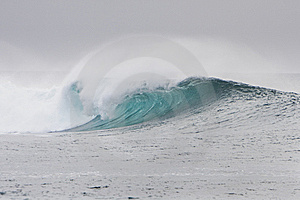 Big Wave Breaks Over A Reef Royalty Free Stock Photography - Image: 8341867