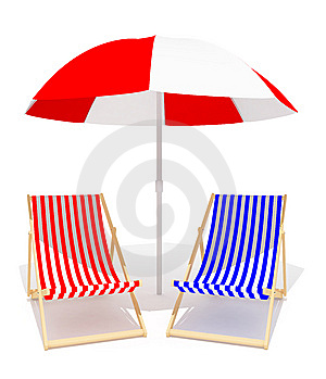 Chaises Longue And Umbrella Royalty Free Stock Photos - Image: 8341988