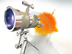 A Chick And A Telescope Stock Photography - Image: 8344462