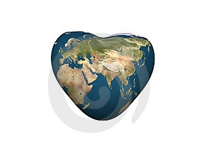 Earth In Heart Shape Stock Images - Image: 8344814