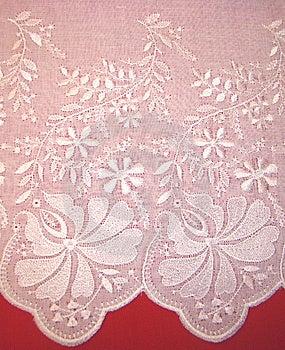 Embroidery Rishelye On A White Batic Stock Image - Image: 8346041