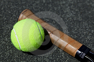 Tennis Ball And Racquet On Court Royalty Free Stock Photography - Image: 8347667