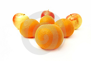Four Mandarines And Three Apples Stock Photography - Image: 8348482