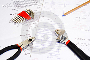 Blueprint And Tools Royalty Free Stock Photos - Image: 8351058