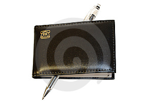 Black Notebook (organizer) And Jell Pen. Stock Images - Image: 8351994