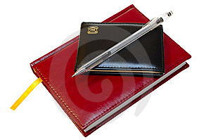 Two Notebooks (organizers) And Jell Pen. Royalty Free Stock Photos - Image: 8352018