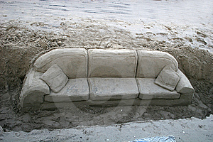 Sofa In The Sand Stock Photography - Image: 8352702