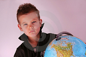 Boy With Globe Royalty Free Stock Image - Image: 8355006