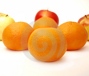 Four Mandarines And Three Apples Royalty Free Stock Photo - Image: 8357025