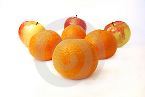 Four Mandarines And Three Apples Royalty Free Stock Photos - Image: 8357038