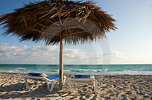 Beach Chairs And Shade Cabana Stock Photos - Image: 8357683