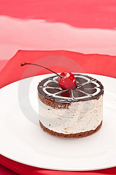 Fancy Cake With Cherry Stock Photo - Image: 8359440