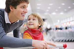Father and daughter in shop Stock Photo