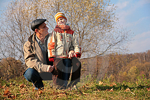 Grandfather And Grandson In Wood Stock Photos - Image: 8360443