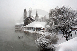 The Mill In Snow. Royalty Free Stock Photos - Image: 8361368