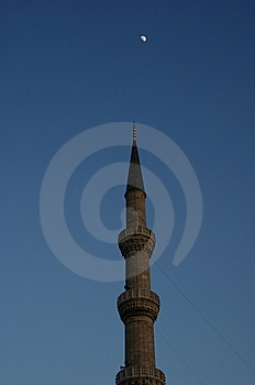 Minaret And Moon Stock Photography - Image: 8362542