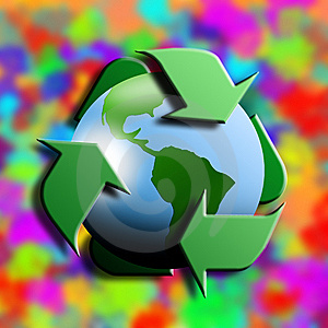 Recycling Symbol With Earth In The Center Stock Photography - Image: 8363292
