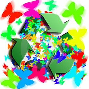 Recycling Symbol With Butterflies Royalty Free Stock Photography - Image: 8363347
