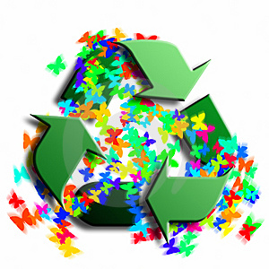 Recycling Symbol With Butterflies Royalty Free Stock Photo - Image: 8363505