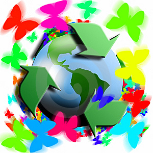 Recycling Symbol With Earth In The Center Stock Photos - Image: 8363633