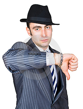 Retro Businessman Show Sing Stock Photo - Image: 8365270