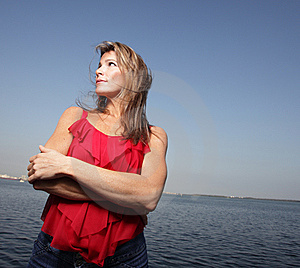 Woman On A Blue Sky Royalty Free Stock Image - Image: 8365976