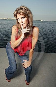 Woman On A Blue Sky Stock Photo - Image: 8365980