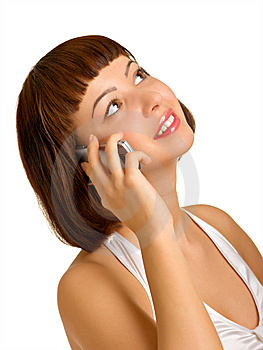 Portrait Of A Girl With A Cell Phone Royalty Free Stock Images - Image: 8366679