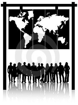 Business People And Map Royalty Free Stock Image - Image: 8366746