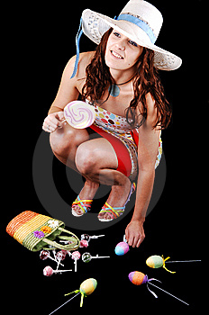 Pretty Girl With Eastern Eggs. Stock Image - Image: 8368141