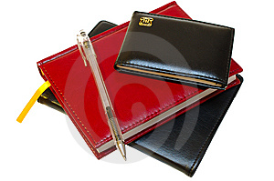 Three Notebooks (organizers) And Jell Pen. Stock Photography - Image: 8368772