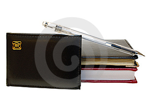 Three Notebooks (organizers) And Jell Pen. Royalty Free Stock Photos - Image: 8368838