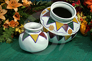 Painted Pots Royalty Free Stock Photography - Image: 8369857