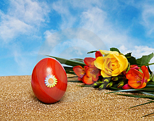 Easter Red Decorated Egg And Flowers Over Blue Sky Royalty Free Stock Photo - Image: 8370995
