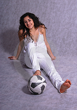Beautiful Girl Sitting On A Floor With A Ball Stock Images - Image: 8372524