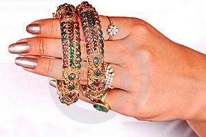 Golden Bracelets Royalty Free Stock Image - Image: 8373446