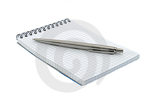 Notebook And Pen On It Isolated Over White Royalty Free Stock Photos - Image: 8373998
