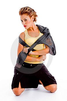 Sexy Model Posing With Jacket Stock Image - Image: 8376071