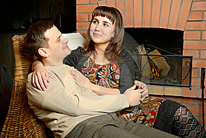 Young Couple Near Fireplace Stock Photos - Image: 8376173